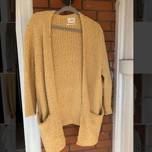 Urban Outfitters long yellow knit cardigan